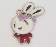 4  Enamel Easter Bunny/Rabbit charms 28x25mm